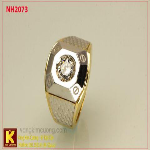 Nhẫn nam ổ kim cương nhân tạo 10k korea NH2073