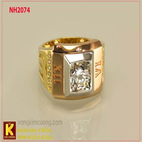 Nhẫn nam ổ kim cương nhân tạo 10k korea NH2074