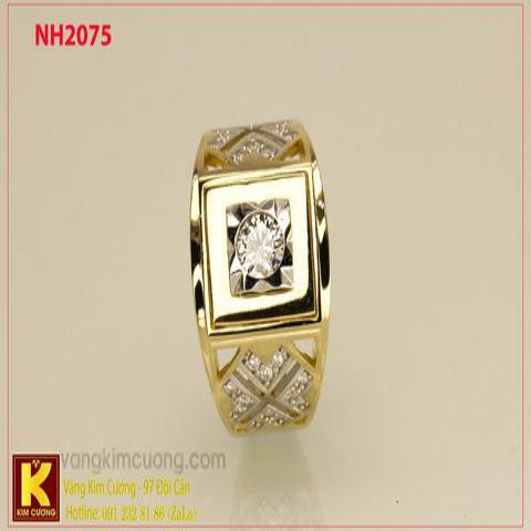 Nhẫn nam ổ kim cương nhân tạo 10k korea NH2075