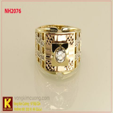 Nhẫn nam ổ kim cương nhân tạo 10k korea NH2076