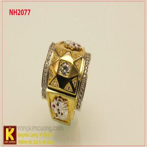 Nhẫn nam ổ kim cương nhân tạo 10k korea NH2077
