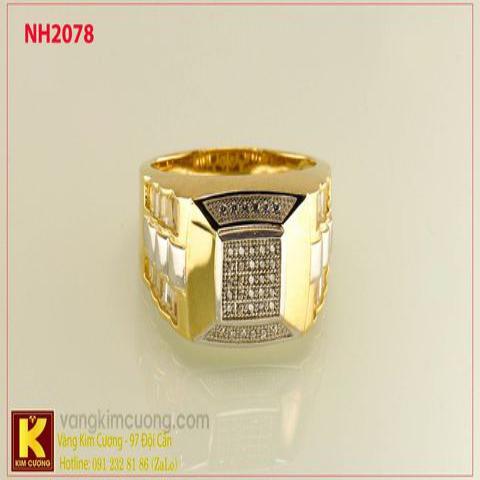 Nhẫn nam ổ kim cương nhân tạo 10k korea NH2078