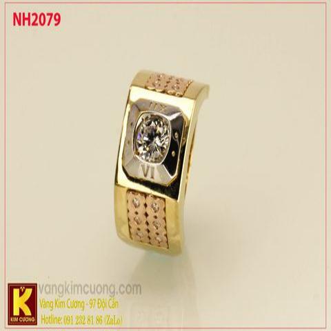 Nhẫn nam ổ kim cương nhân tạo 10k korea NH2079