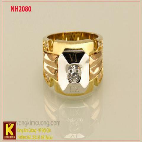 Nhẫn nam ổ kim cương nhân tạo 10k korea NH2080