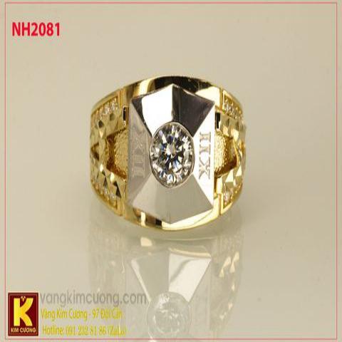 Nhẫn nam ổ kim cương nhân tạo 10k korea NH2081