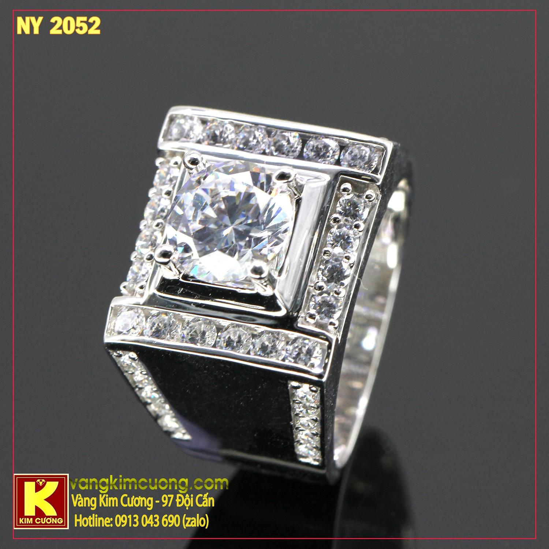 Nhẫn nam vàng trắng italy 18k NY2052