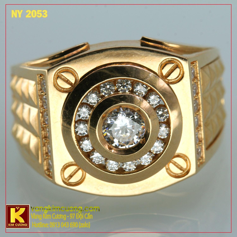 Nhẫn nam vàng trắng italy 18k NY2053