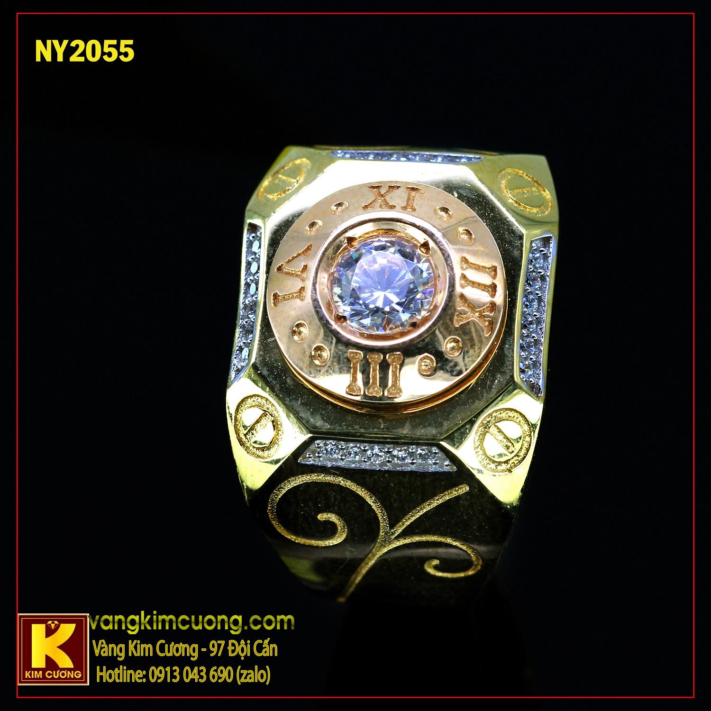 Nhẫn nam vàng trắng italy 18k NY2055