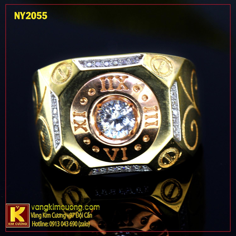 Nhẫn nam vàng trắng NY2055