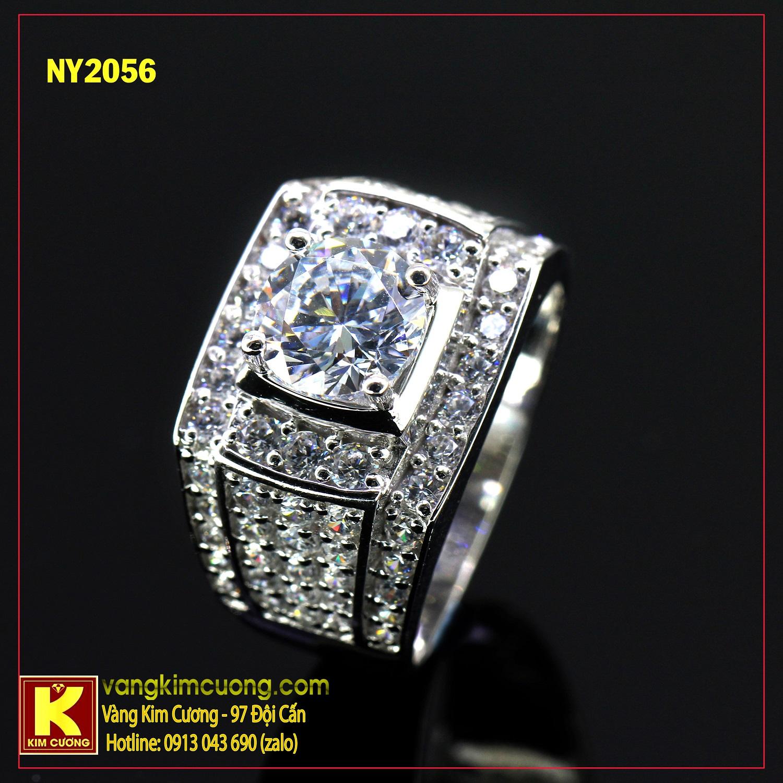 Nhẫn nam vàng trắng italy 18k NY2056