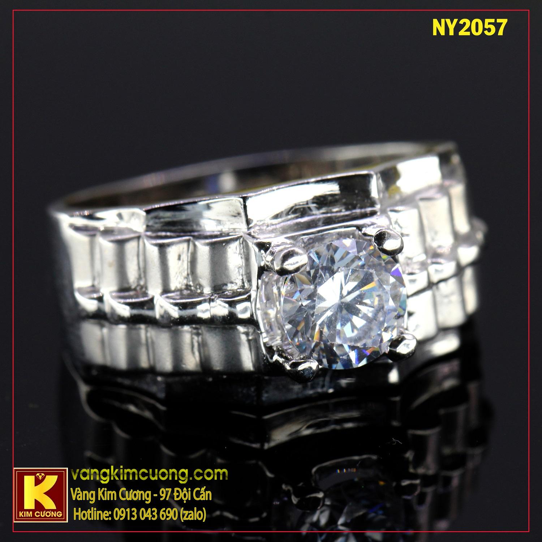 Nhẫn nam vàng trắng italy 18k NY2057