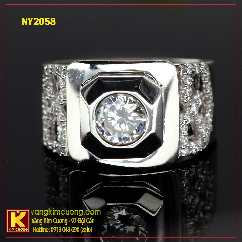 Nhẫn nam vàng trắng NY2058