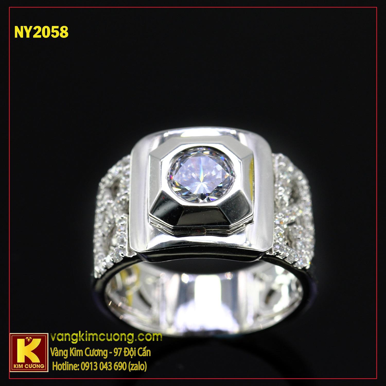 Nhẫn nam vàng trắng italy 18k NY2058