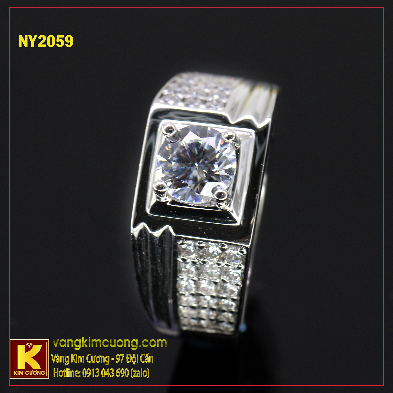 Nhẫn nam vàng trắng italy 18k NY2059