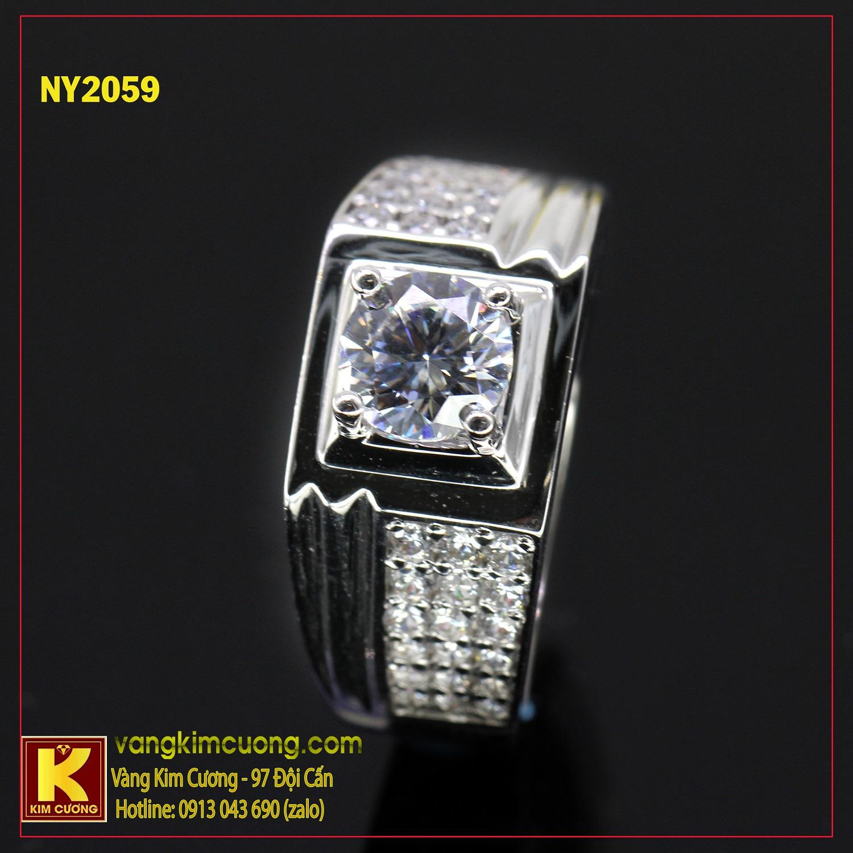 Nhẫn nam vàng trắng NY2059