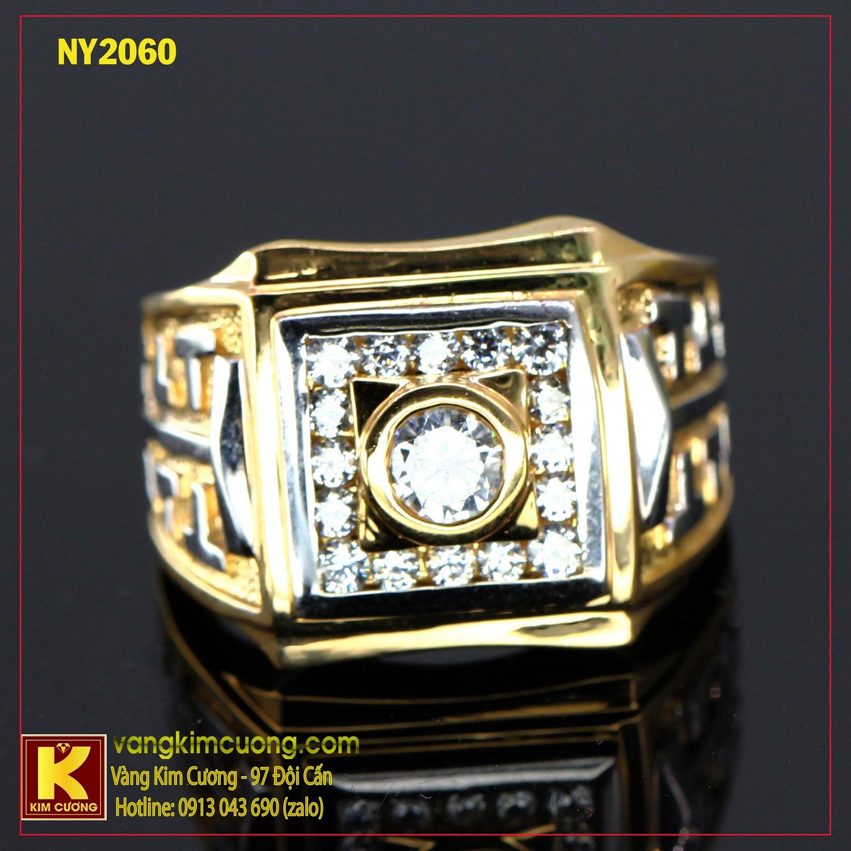 Nhẫn nam vàng trắng italy 18k NY2060