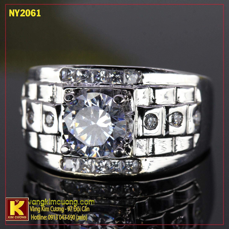 Nhẫn nam vàng trắng italy 18k NY2061