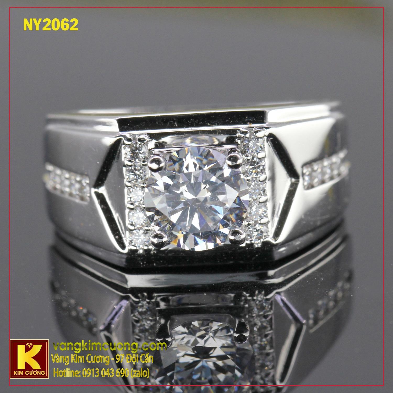 Nhẫn nam vàng trắng italy 18k NY2062