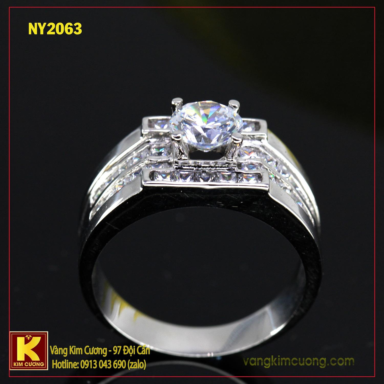 Nhẫn nam vàng trắng italy 18k NY2063