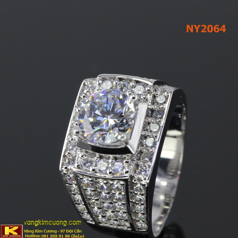 Nhẫn nam vàng trắng italy 18k NY2064