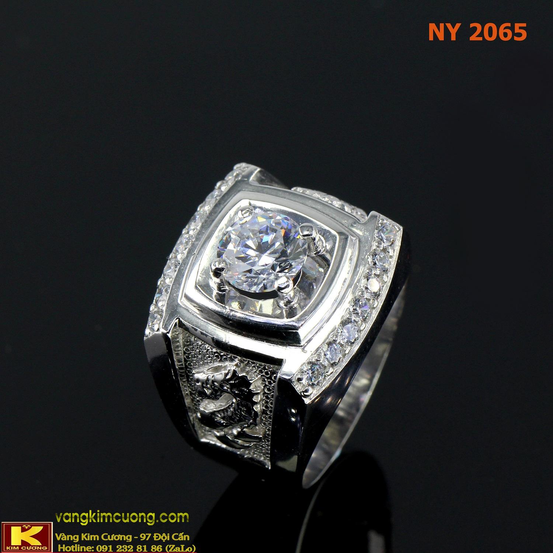 Nhẫn nam vàng trắng italy 18k NY2065