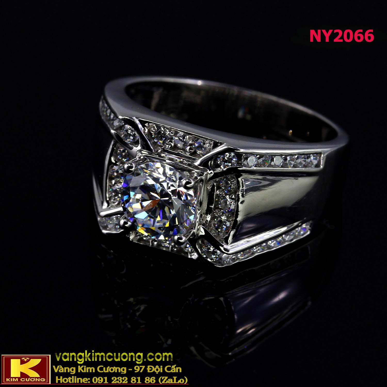 Nhẫn nam vàng trắng italy 18k NY2066