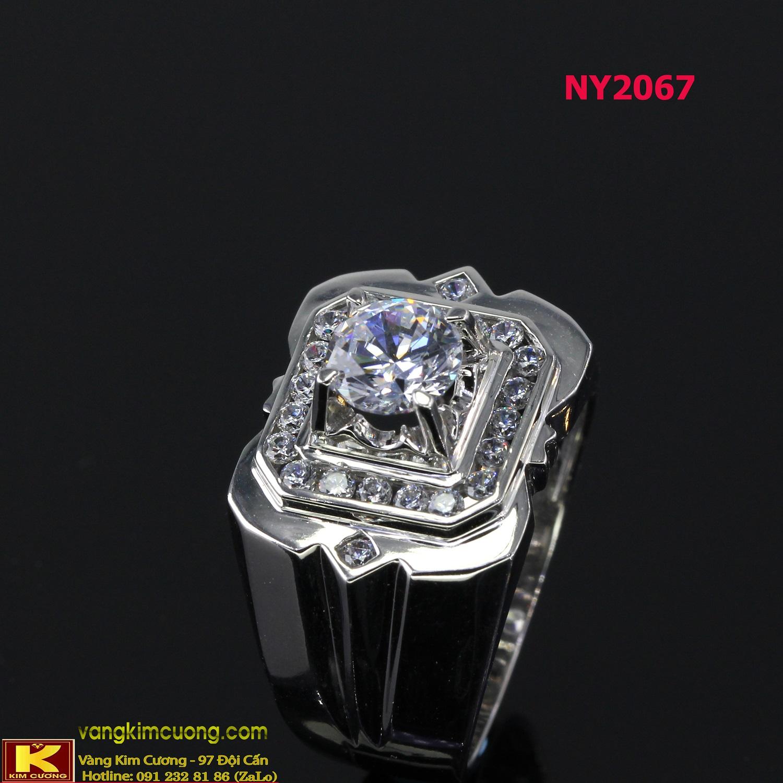 Nhẫn nam vàng trắng italy 18k NY2067