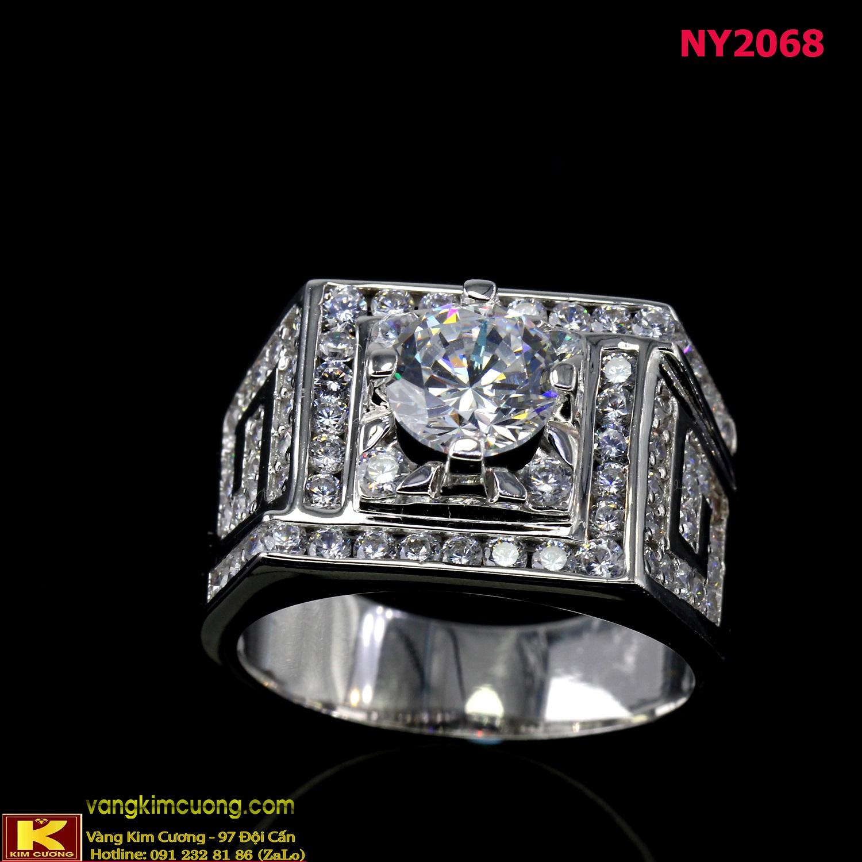 Nhẫn nam vàng trắng italy 18k NY2068
