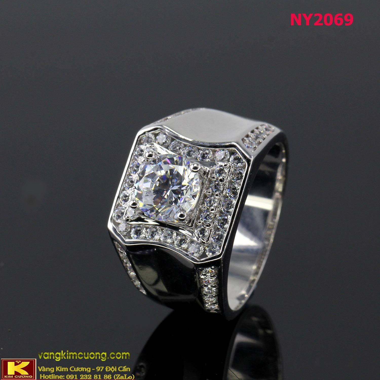 Nhẫn nam vàng trắng italy 18k NY2069