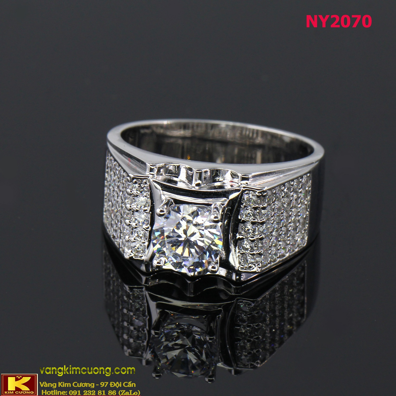 Nhẫn nam vàng trắng italy 18k NY2070