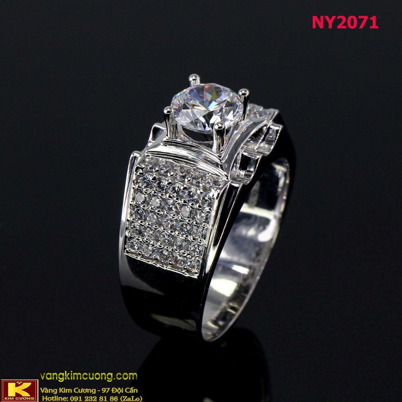 Nhẫn nam vàng trắng italy 18k NY2071