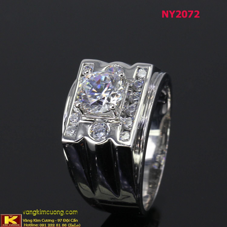 Nhẫn nam vàng trắng italy 18k NY2072