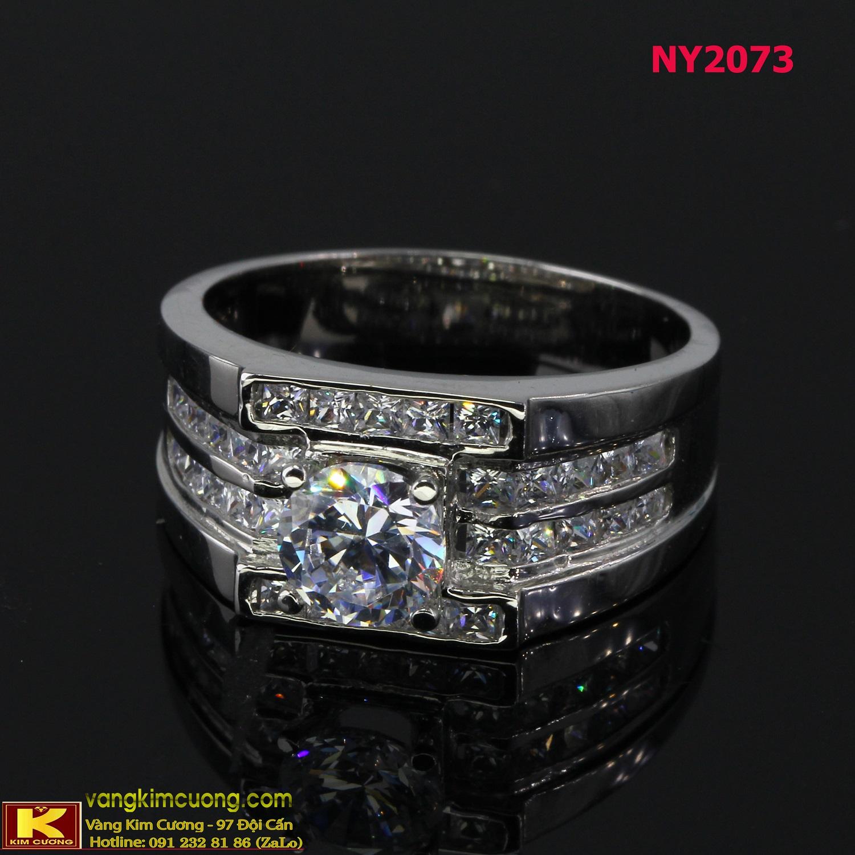 Nhẫn nam vàng trắng italy 18k NY2073