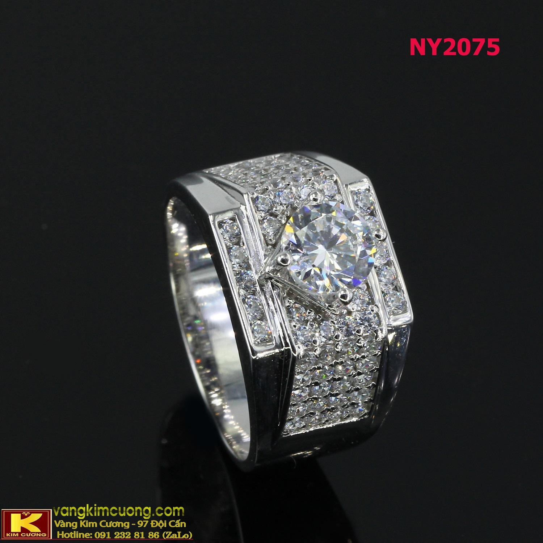 Nhẫn nam vàng trắng italy 18k NY2075