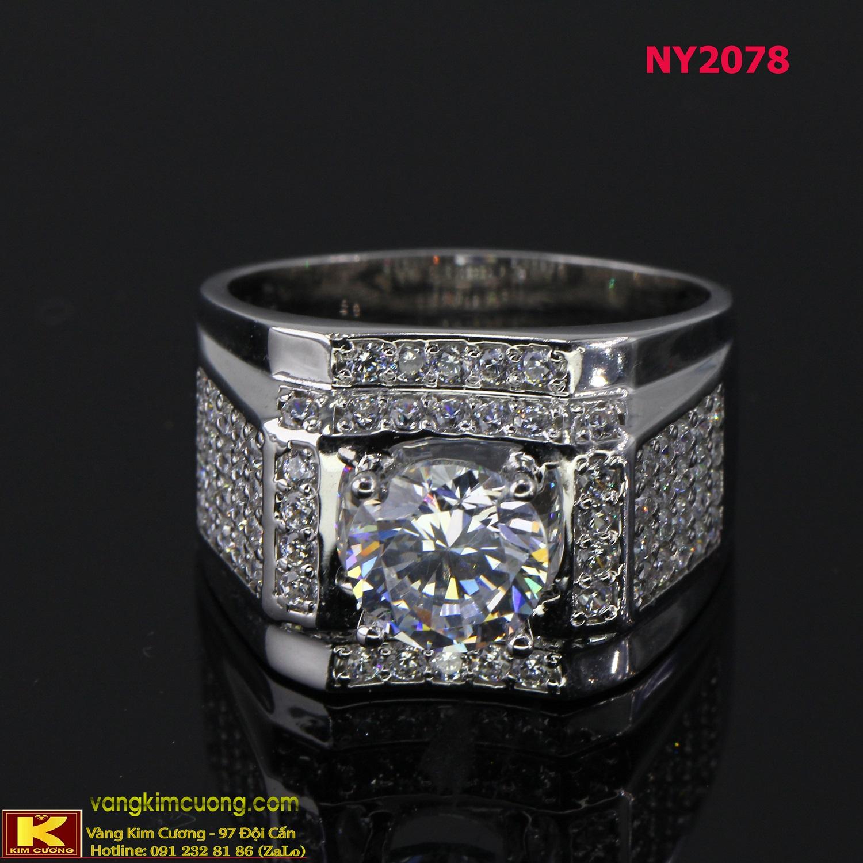 Nhẫn nam vàng trắng italy 18k NY2078