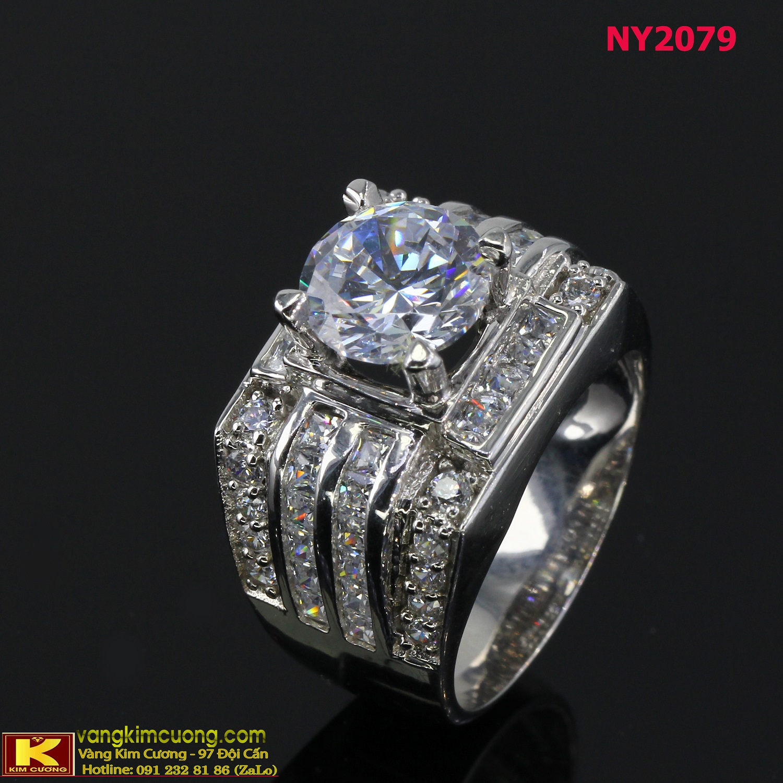 Nhẫn nam vàng trắng NY2079