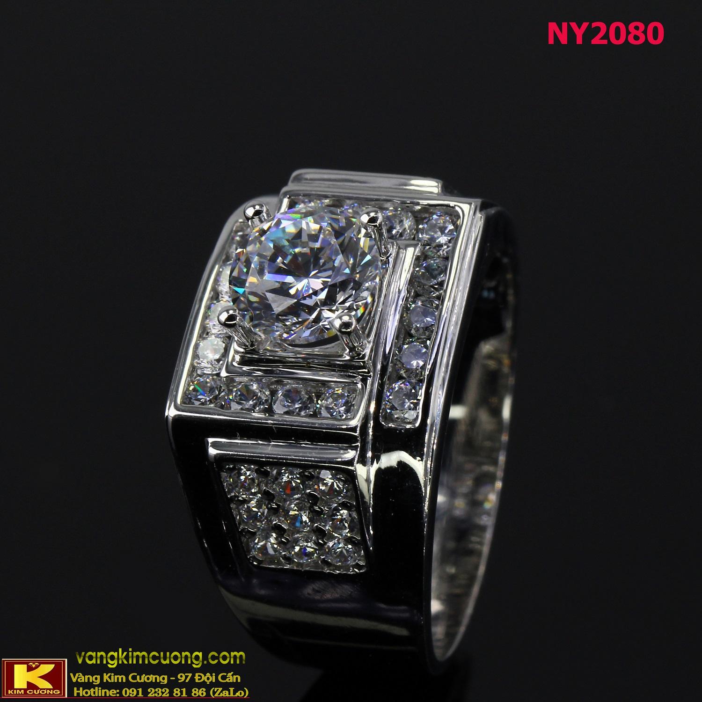 Nhẫn nam vàng trắng italy 18k NY2080