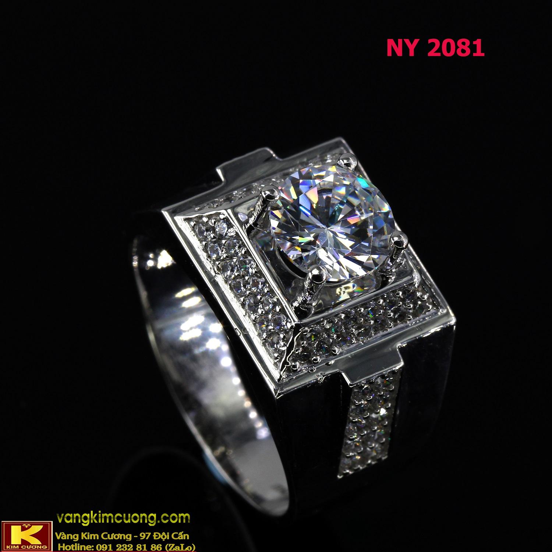 Nhẫn nam vàng trắng italy 18k NY2081