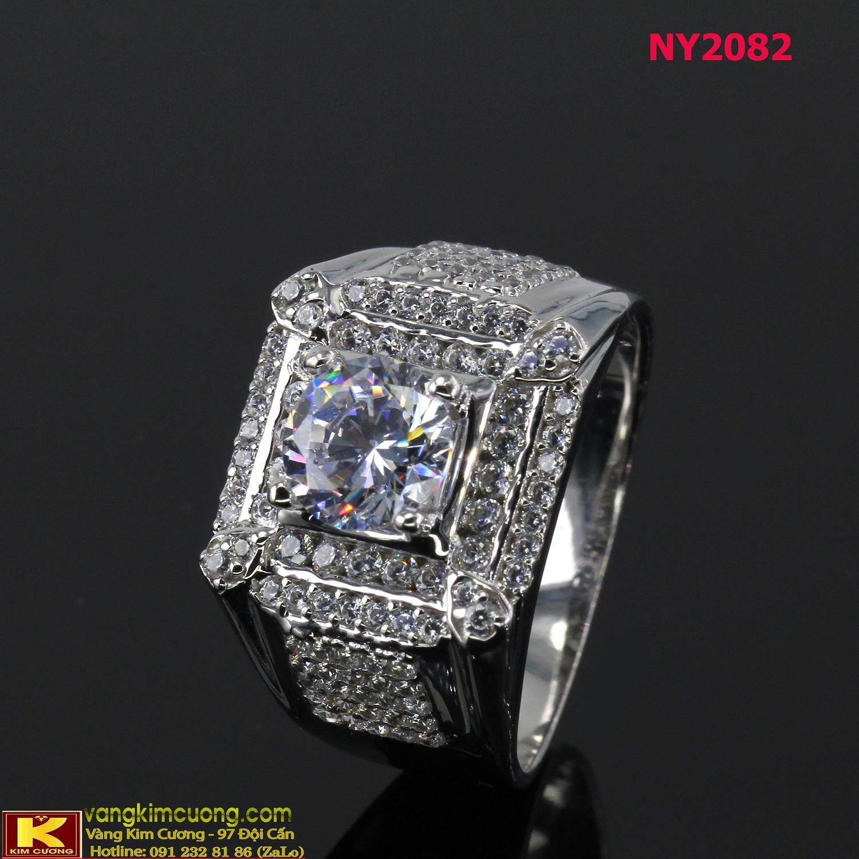 Nhẫn nam vàng trắng italy 18k NY2082