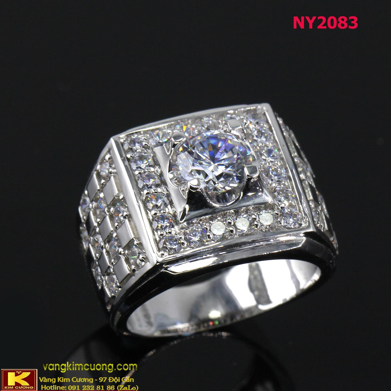 Nhẫn nam vàng trắng italy 18k NY2083