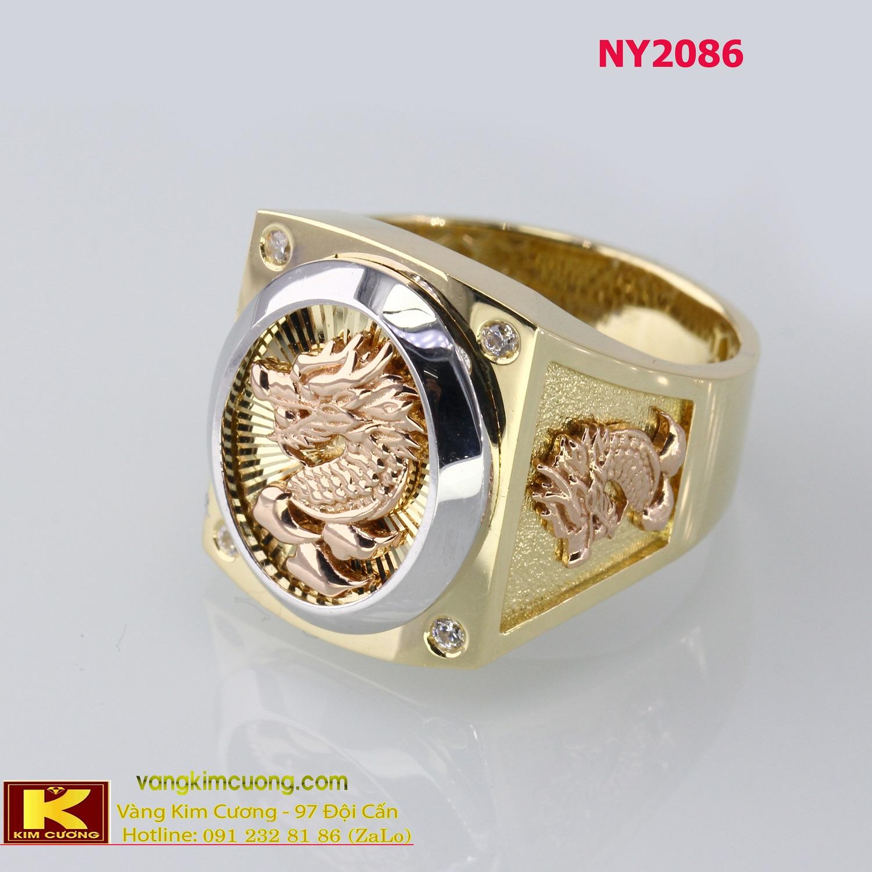 Nhẫn nam vàng trắng italy 18k NY2086