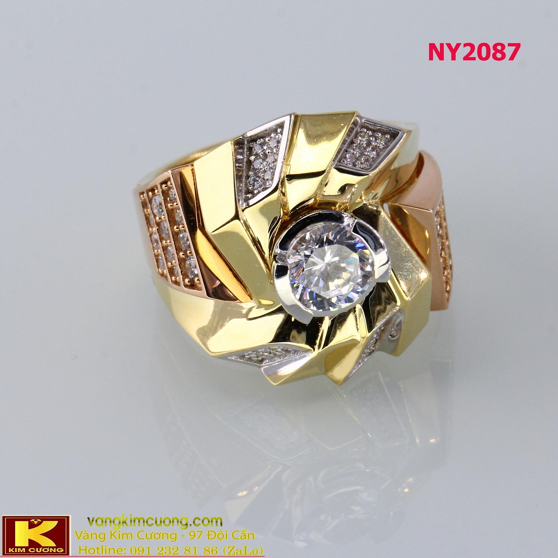 Nhẫn nam vàng trắng italy 18k NY2087