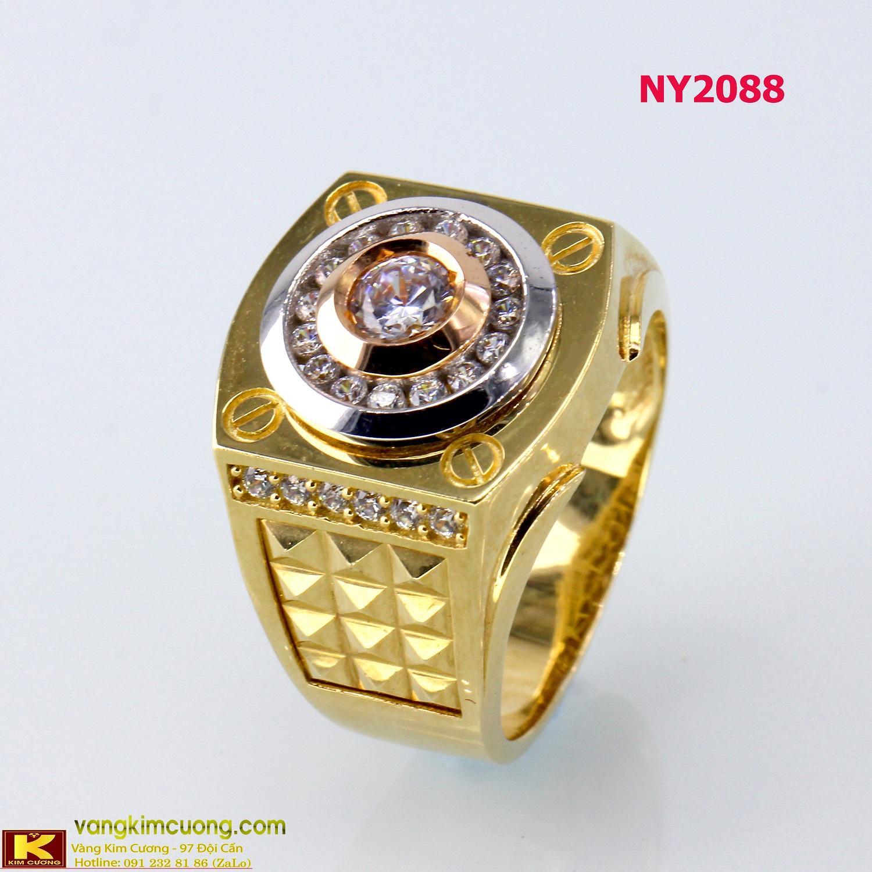 Nhẫn nam vàng trắng italy 18k NY2088