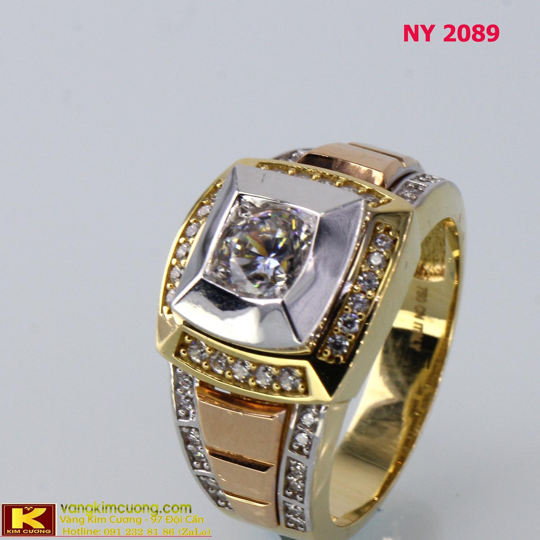 Nhẫn nam vàng trắng italy 18k NY2089