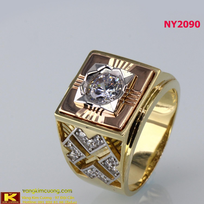 Nhẫn nam vàng trắng italy 18k NY2090