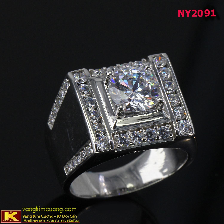 Nhẫn nam vàng trắng 16k 3D NY2091