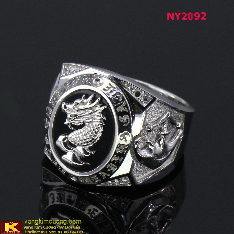 Nhẫn nam vàng trắng italy 18k NY2092
