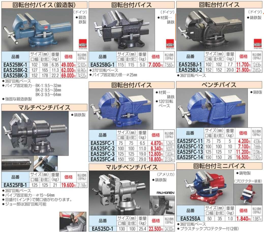 Ê tô kẹp chi tiết, EA525W ESCO, ESCO EA525, ê tô kẹp, ê tô nhập khẩu