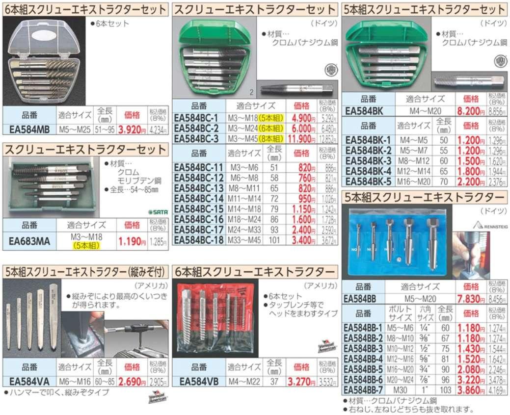 Bộ thanh tháo ốc gãy, ESCO EA584BC-1, EA584BC-2, bộ tháo ốc gãy nhập khẩu