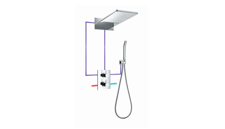BF 200 355W - Waterfall Thermostatic Concealed Shower